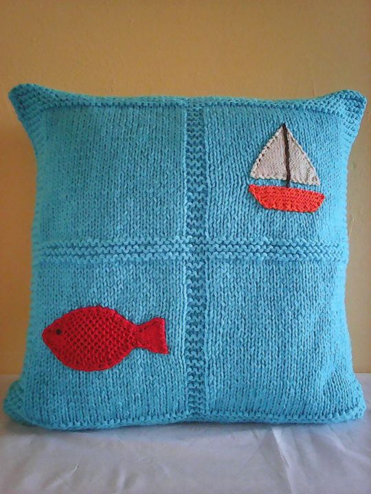 Knitted Light Blue Pillow With Fish - Eliza