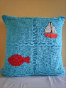 Knitted Light Blue Pillow With Fish
