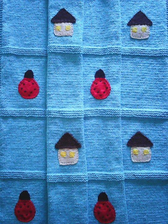 Knitted Turkish Blue Baby Blanket - Eliza