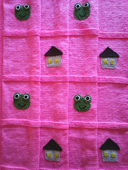 Knitted Pink Baby Blanket - Eliza