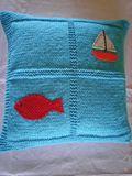 Knitted Light Blue Pillow