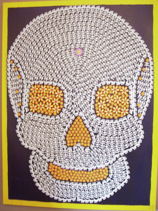 """Day of the Dead Skull 30""""x40""""x1 1/2"""" - Genedieve"""