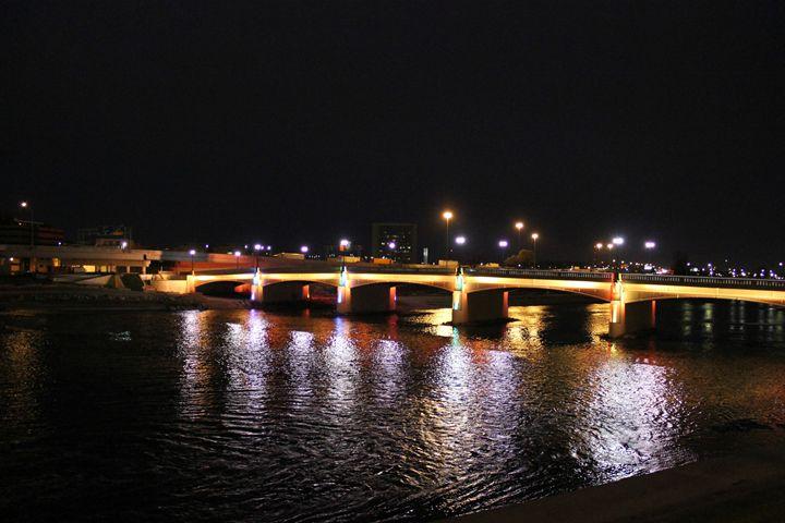 Dayton Night Bridge - Urban Black Art
