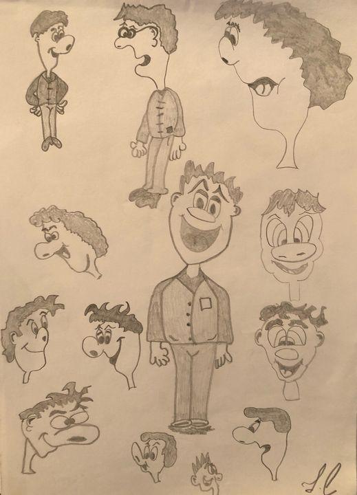 Funny faces of a cartoon character - Artist John Carpenter