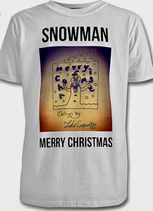 Snowman on white T-shirt - Artist John Carpenter
