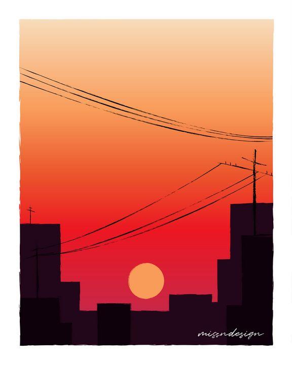 SUNSET CITYSCAPE - MissNdesign