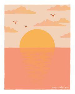 PINK RETRO SUNSET SEASCAPE
