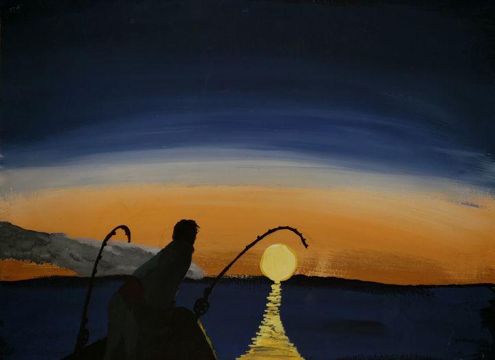 Fishing at sunset - Gordon McIntyre Lloyd Quinton
