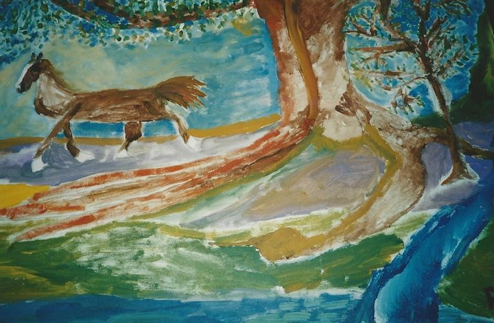 Horse with Primitive Trees - Polyvios' Paintings Etc.