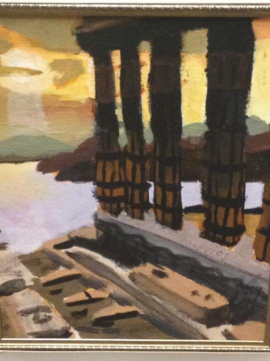 Greece Dusk at the Acropolis - Polyvios' Paintings Etc.