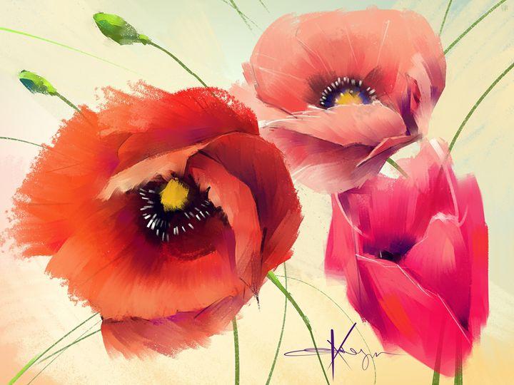 Three Poppies - Evgeny Kazantsev