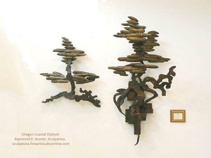 Oregon Coastal Tree Diptych - Raymond D. Hunter