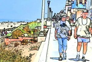 Older Couple Walking on Strand