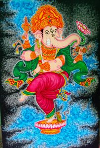 Dancing ganesha canvas acrylic