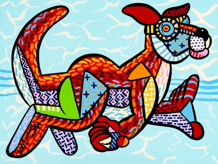 Swimming Kangaroo - Mark Daniel Art