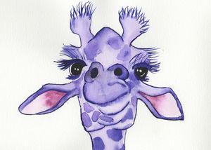 Purple giraffe 5x7