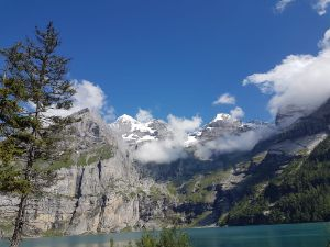 Oeschinensee landscape with trees