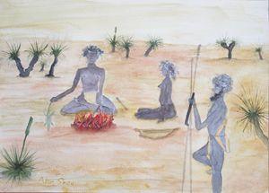 Traditional Aboriginals cooking.