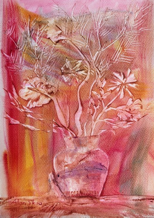 Flowers in a glass vase. - Alan Skau