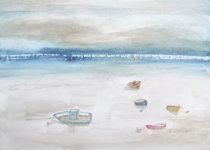 Boats at low tide.
