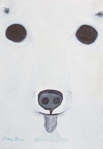Polar Bear eating ice cream.