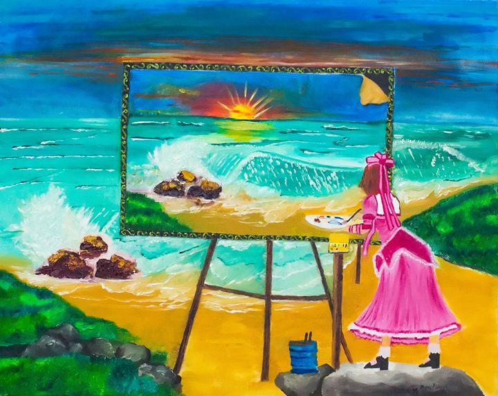 A girl paining an ocean - Divya