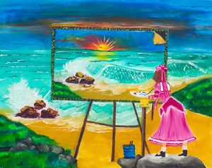 A girl paining an ocean
