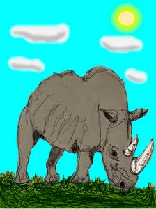 White Rhino in daylight art - Mike M