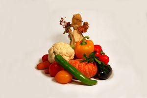 Corn husk doll and vegetarian food