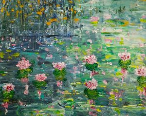 Pond Blooming with water lilies