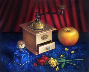 Coffee Grinder, Apple, Blue Pigment