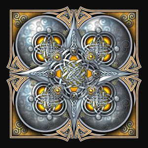 Yellow Celtic Hearts Tapestry - Naumaddic Arts