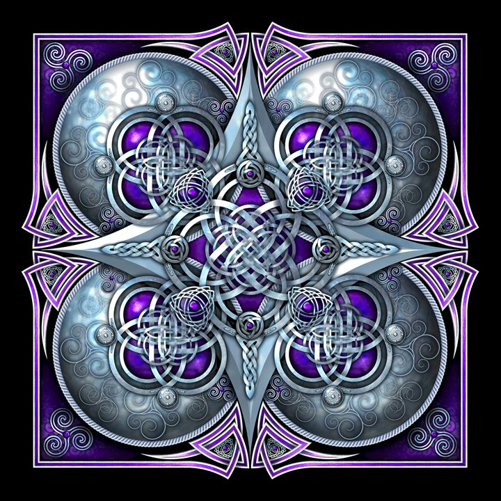 Purple Celtic Hearts Tapestry - Naumaddic Arts