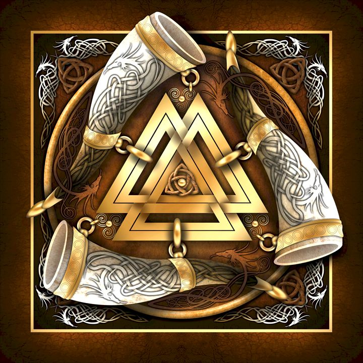 Norse Triple Horns And Valknut - Naumaddic Arts