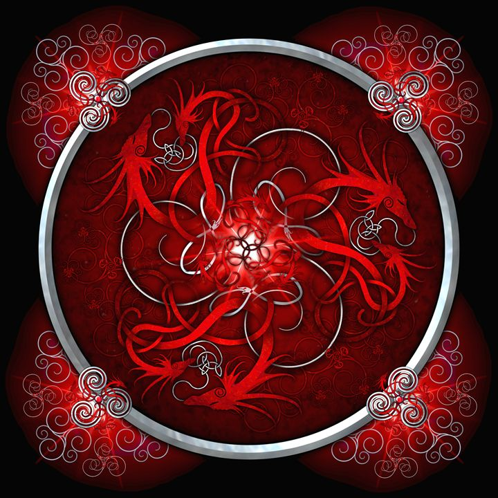 Red Norse Triskelion Dragons - Naumaddic Arts