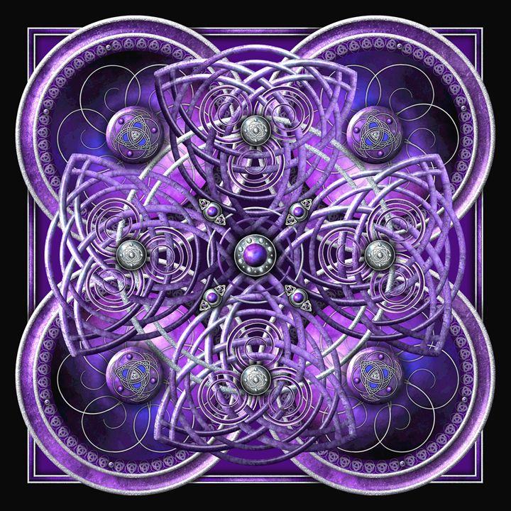 Purple Celtic Cross Tapestry - Naumaddic Arts