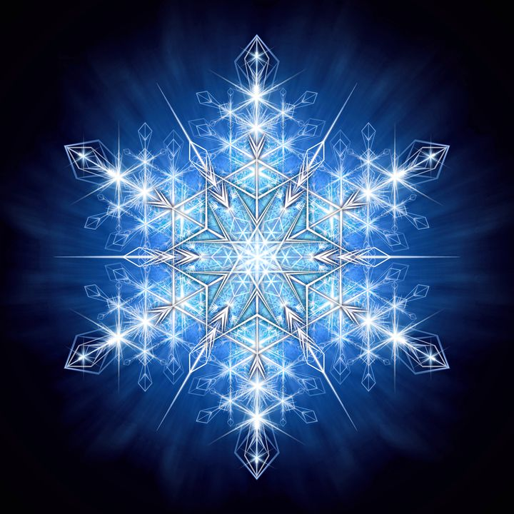 Snowflake Crystal On Deep Blue - Naumaddic Arts