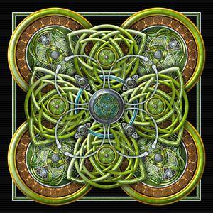 Earth Green Celtic Cross Tapestry - Naumaddic Arts