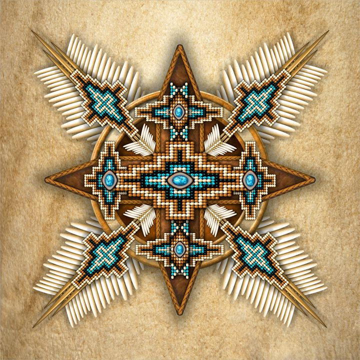 Native American Bead Cross Mandala Naumaddic Arts Digital Art Ethnic Cultural Tribal Native American Artpal