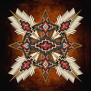 Native American Bead Cross Mandala