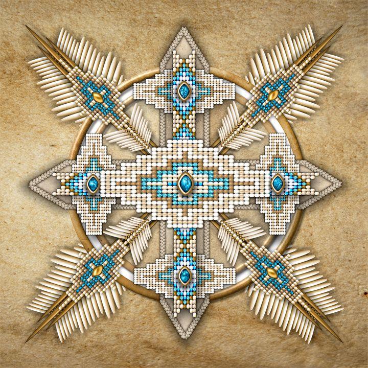 Native American Bead Peyote Cross - Naumaddic Arts