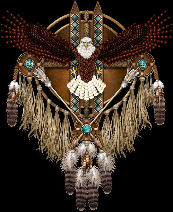 Bald Eagle Native American Mandala - Naumaddic Arts