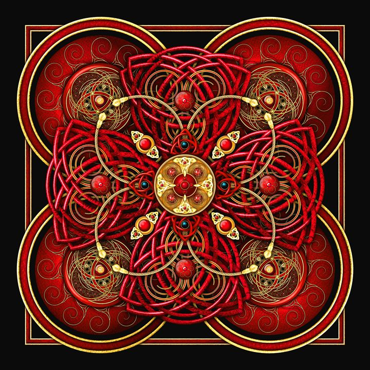 Crimson Red Celtic Cross Tapestry - Naumaddic Arts