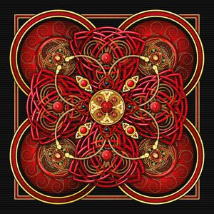 Crimson Red Celtic Cross Tapestry - Naumaddic Arts