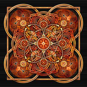 Mandarin Orange Celtic Cross Tapestr - Naumaddic Arts