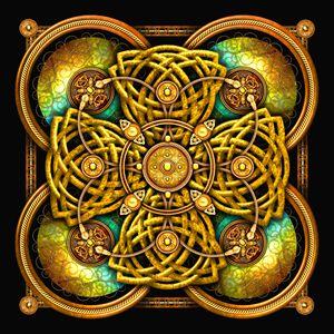 Golden Yellow Celtic Cross Tapestry - Naumaddic Arts