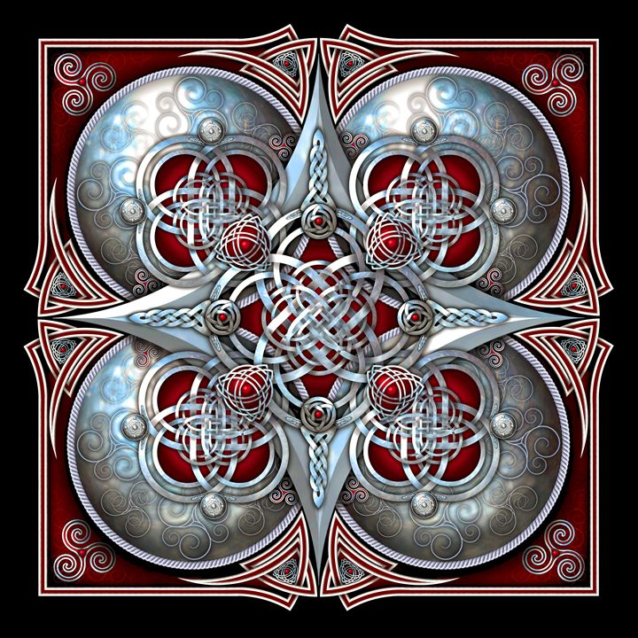 Crimson Celtic Hearts Tapestry - Naumaddic Arts