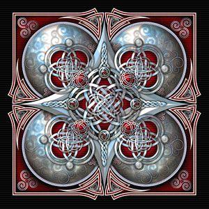 Crimson Celtic Hearts Tapestry - Naumaddic Arts