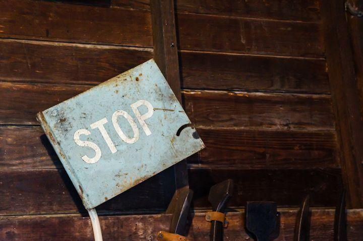 Blue Stoop Sign - David J Riffey