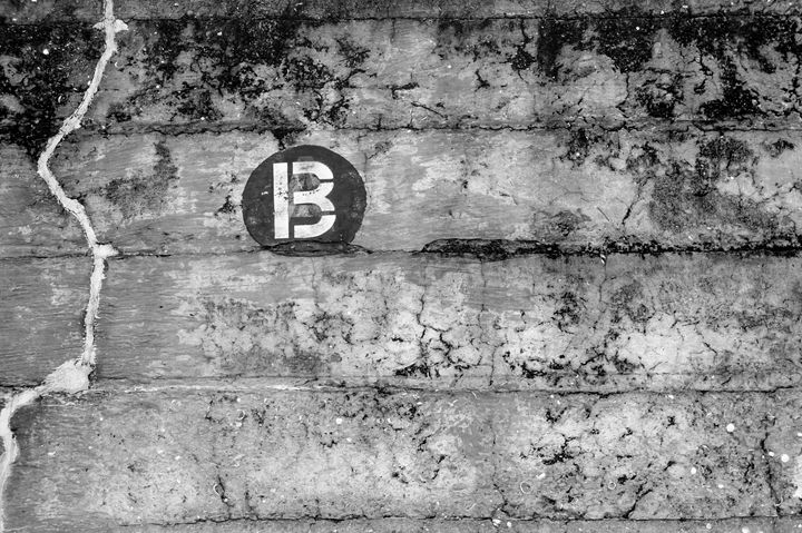 Letter B on Concrete Wall - David J Riffey